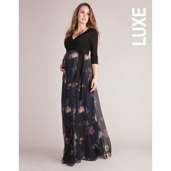 Silk Wrap Maternity Maxi Dress ($259) ❤ liked on Polyvore featuring maternity