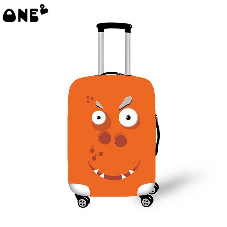 2016 ONE2 Design big mouth monster pattern cover apply to 22,24,26 inch polyester custom elastic canvas fabric luggage cover