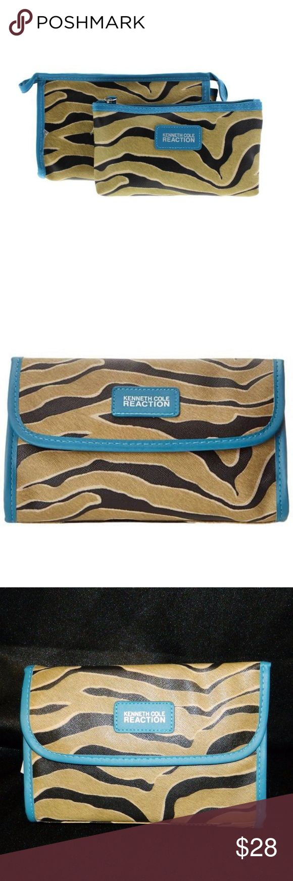 KENNETH COLE REACTION Zebra 2pc East/West SET MEASUREMENTS: (Measurements are in inches, laid flat so double for all the way around when needed)  Total Length: 8  Height:5  Brand: Kenneth Cole Reaction  Condition: new with tags & Ribbon   Color: brown, aqua blue, black  Material: synthetic, man made  Brief Detail: This is a small mirrored cosmetic makeup bag with a demi flap closure with two snaps, and an inside zipper.   Clutch/Cosmetic/Toiletries   Know sizes & look at pics. All Sales…