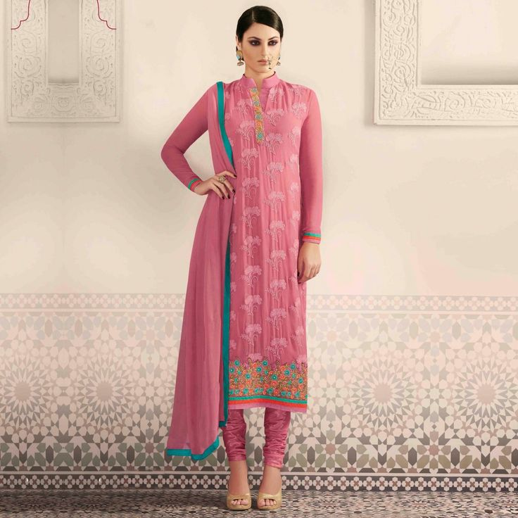 """ Buy Pink High Neck Party Wear Suit - Ethnic Suits Online Shopping at Peachmode """