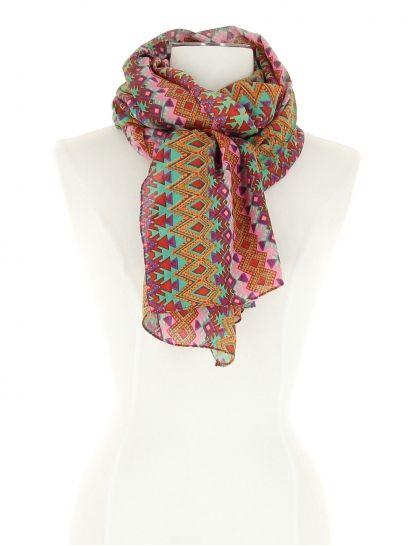Foulard vert et rose à motifs aztèques