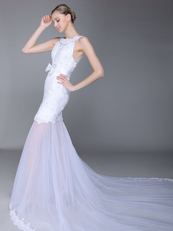 Lace and Tulle Mermaid Wedding Dress with Bow Detail