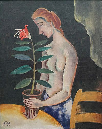Karl Hofer, Frau mit Blume, 1920.