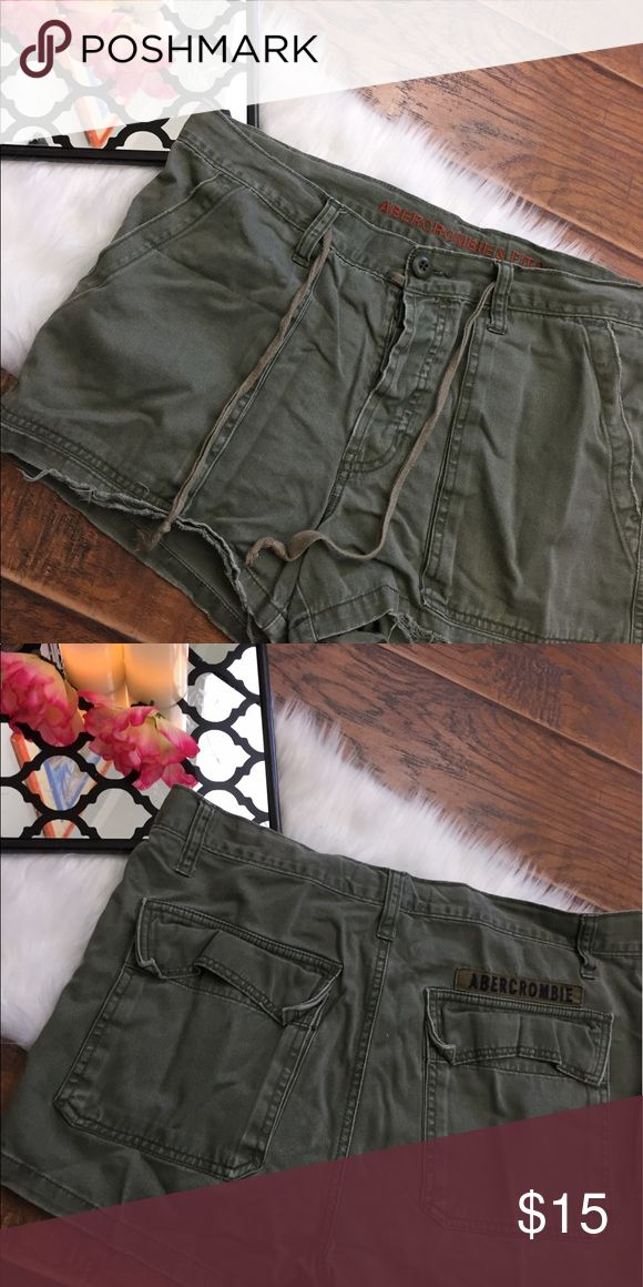 "Abercrombie and fitch women's green shorts medium This pair of Abercrombie and fitch distressed women's shorts are a size medium . They measure 34"" waist and the length is 11"" . They are in good condition Abercrombie & Fitch Shorts"