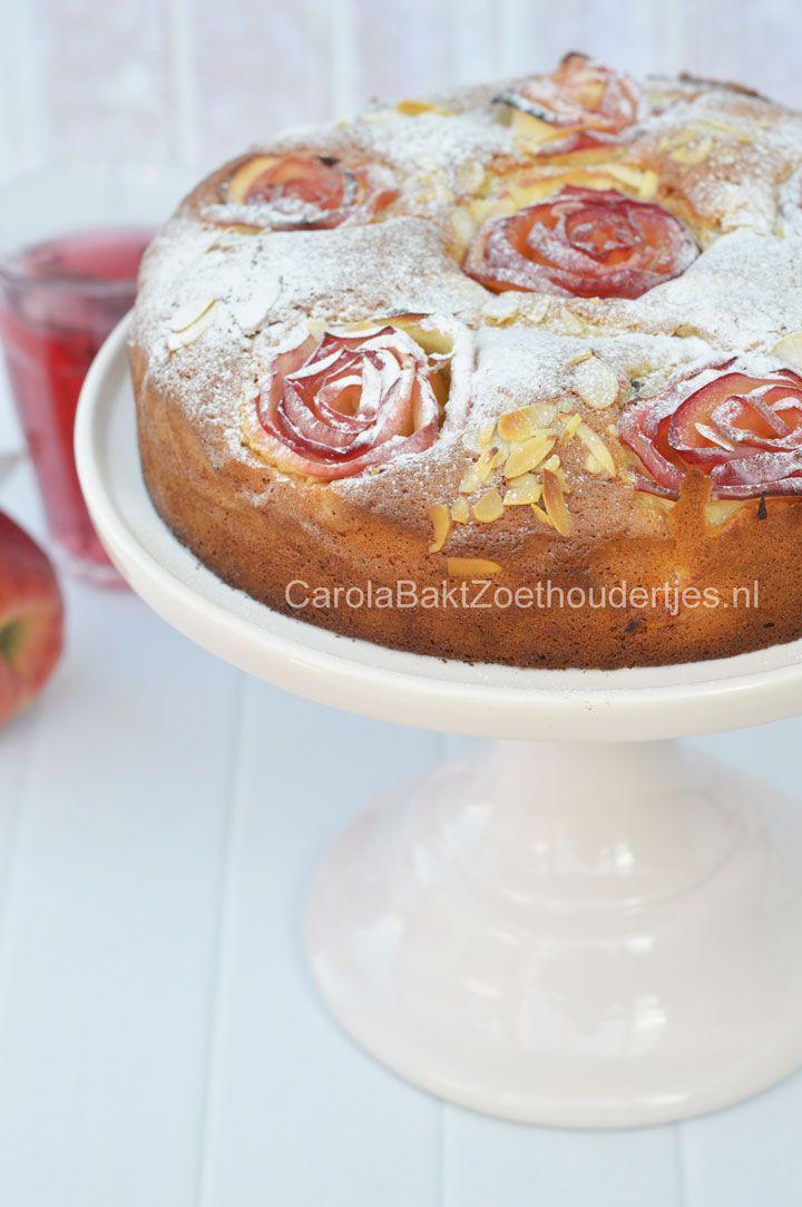 Cake with apple roses Appelroosjes appeltaart