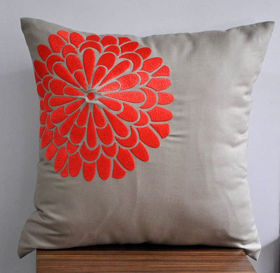 Tan Linen Throw Pillow : Coral Orange Flock - Throw Pillow Cover - 18