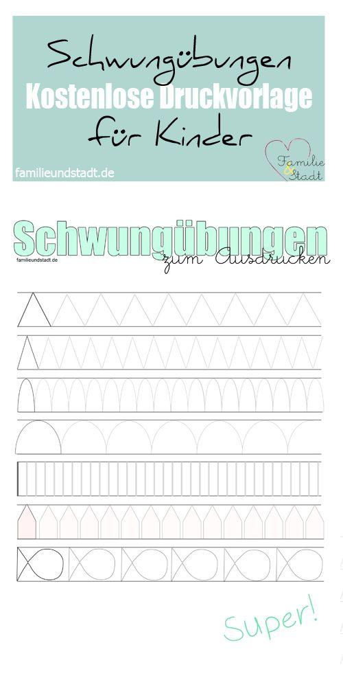 Schwungübungen ausdrucken, Druckvorlage für Vorschule und Grundschule
