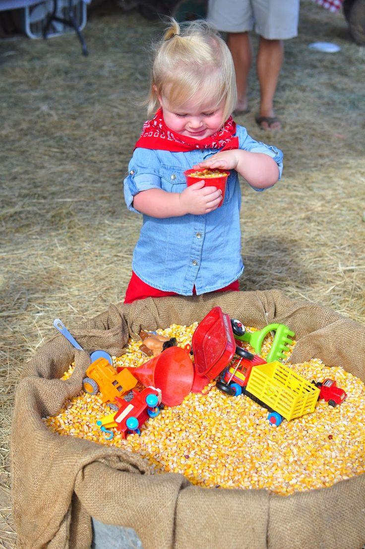 Farm theme birthday - entertainment - DIY corn tub for the kids to play in