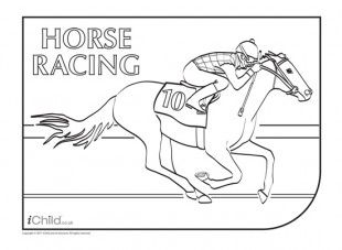 Your child can enjoy colouring in this picture of a jockey taking part in a horse race for Royal Ascot.