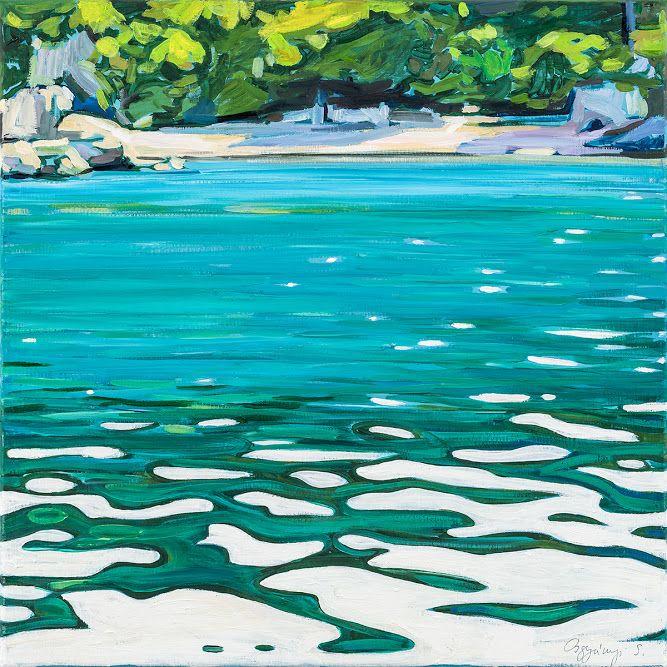 Sára Osgyányi - Blue lagoon  oil on canvas, 60x60cm