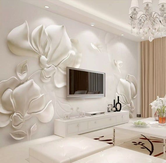 Floral Wallpaper Magnolia Flower Wall Mural 3D Embossed Wall Art Classical Home Decor Cafe Design Li