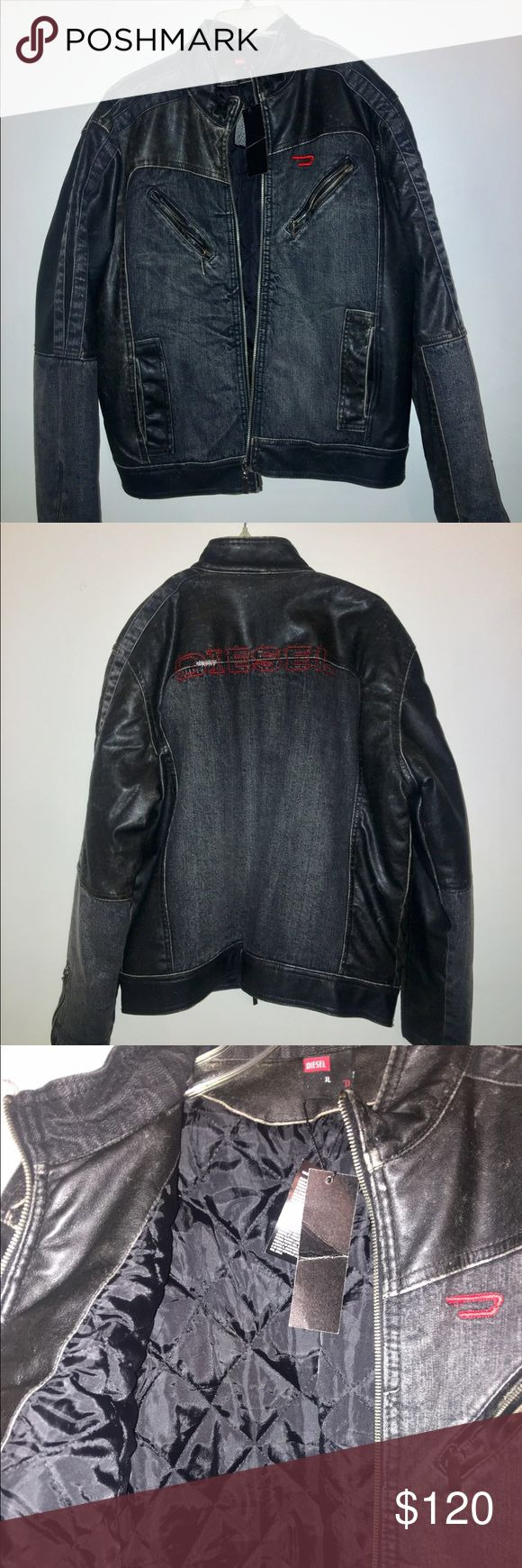 NWT mens Diesel Moto jacket New with tags diesel moto jacket. Leather denim combo. Runs small Diesel Jackets & Coats