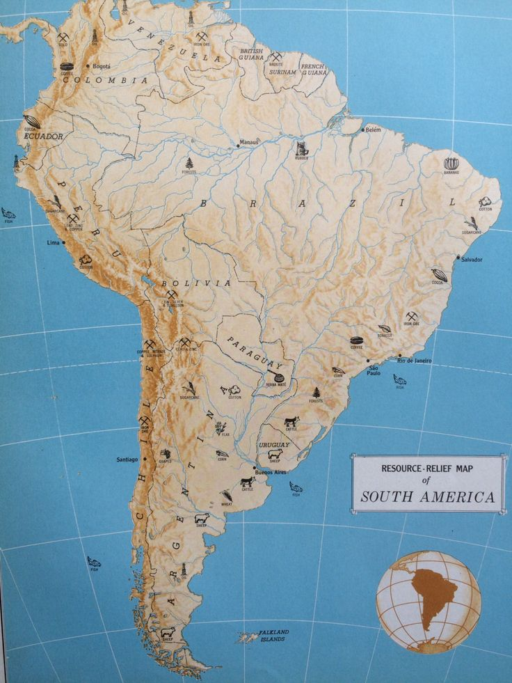 North America Map Outline Printable%0A      SOUTH AMERICA ResourceRelief Map original vintage map by NinskaPrints  on Etsy https