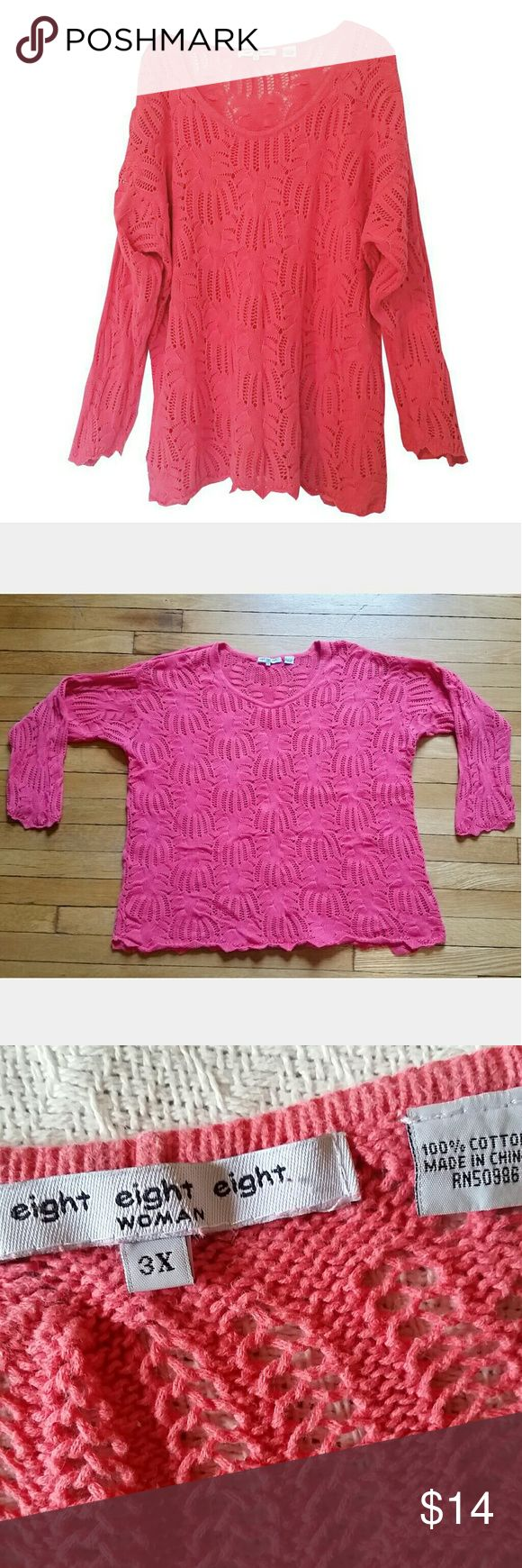 Open Weave Salmon Sweater Open Weave sweater, salmon color. Perfect for spring/autumn, long sleeve yet airy. No pulls/rips/stains/signs of wear. eight eight eight Sweaters Crew & Scoop Necks