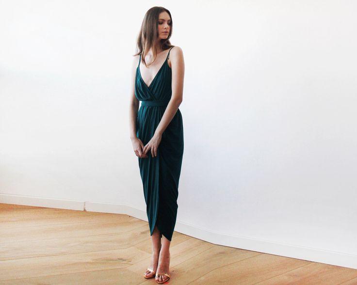 Wrap maxi Emerald green tulip dress, Emerald bridesmaids gown, Green tulip maxi dress by BLUSHFASHION on Etsy https://www.etsy.com/uk/listing/253678536/wrap-maxi-emerald-green-tulip-dress