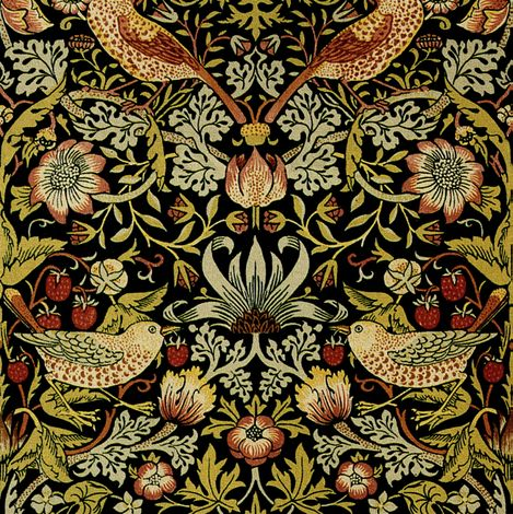 William Morris ~ Strawberry Thief ~ Intense ~ Small fabric by peacoquettedesigns on Spoonflower - custom fabric