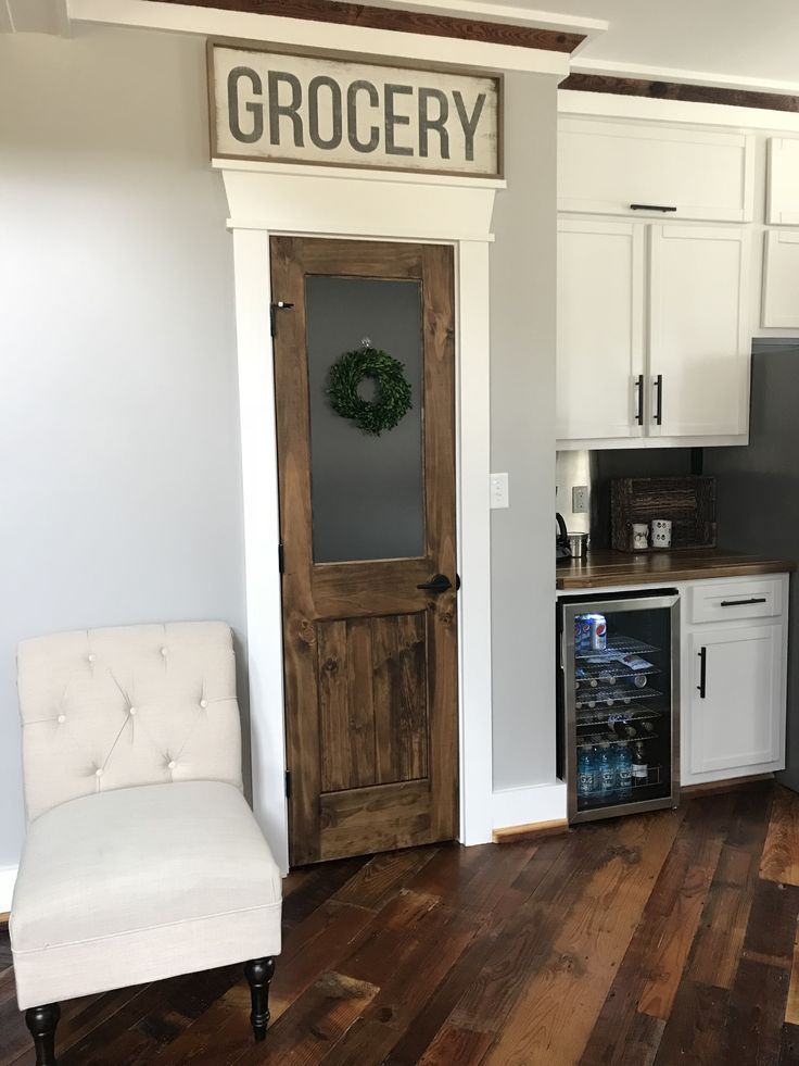 F A R M H O U S E Rustic Pantry Door With Frosted Glass