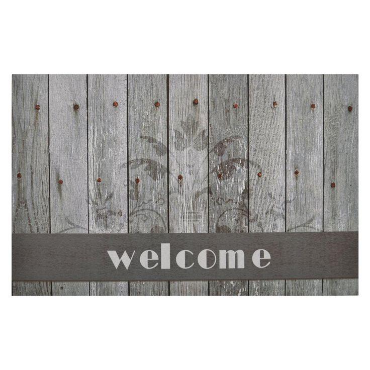 Boardwalk Welcome 18 in. x 30 in. Rubber Entrance Mat, Grey