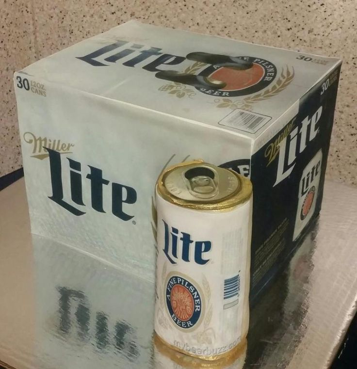 Miller Lite Case Cake - Lite Box is cake and can is modeling chocolate