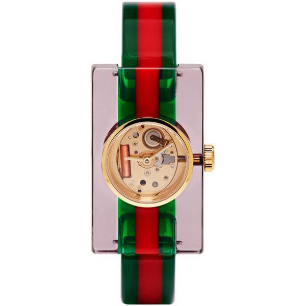 Gucci Red and Green Plexiglass Skeleton Watch ($525) ❤ liked on Polyvore featuring jewelry, watches, red, engraved jewelry, bee jewelry, rectangular watches, skeleton watches and red jewelry