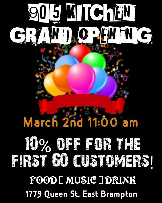 905 Kitchen is opening a new location in Bramalea on March 2nd 2018 at 11am. Building on the success of its first restaurant in Brampton  905 Kitchen will expand its menu with fresh seafood and healthy additions.  The first 60 customers will receive 10% off their order.  We are also looking for poets singers and comedians... please send us an DM if you are interested in performing thanks   #brampton #toronto #gta #caribbeancruise #finedining #brampton #mississauga #chicken  #eatlocal…