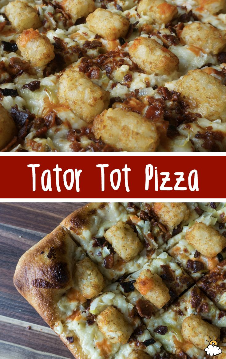 Two of our favorite snack foods combine for the ultimate treat! This Tater Tot Pizza is everything you imagined it to be. Loaded with cheese and bacon this Tater Tot Pizza Recipe is perfect for mealtime or game night!
