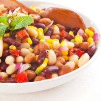 Mixed Bean Salad Recipe - A fresh spin on salad - dried beans, capsicum and tomatoes dressed in sweet and sour flavours.