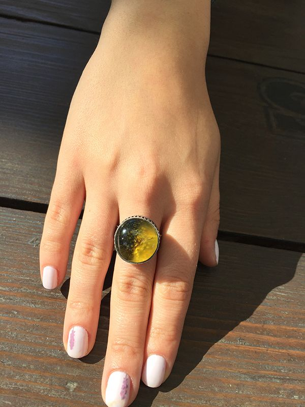 Sterling silver ring with natural Baltic amber #amber #amber ring