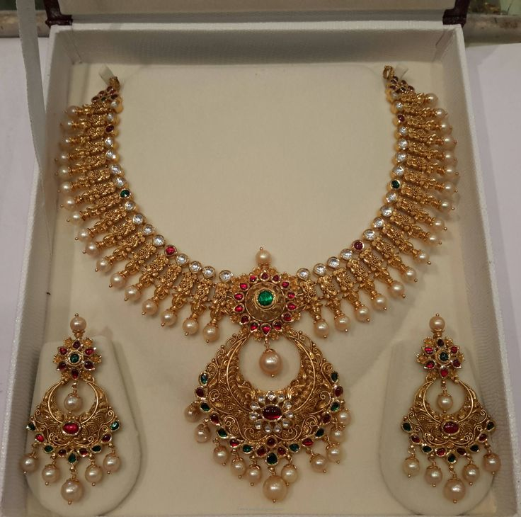 Gold Pearl Necklace Desgins, Pearl Necklace Models, Pearl Necklace Collections.
