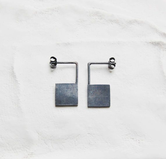 Oxidized silver geometrics pendants earrings Les by AgJc on Etsy, €35.00
