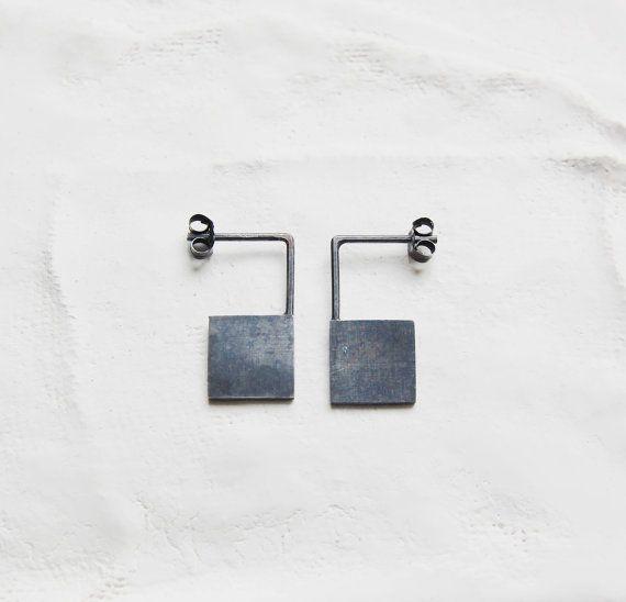 Oxidized silver geometrics pendants earrings Les by AgJc on Etsy, €35.00