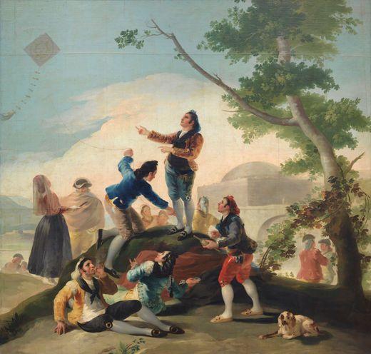 La cometa, de Goya. Uno de los cartones para tapices que se pueden ver en #GoyaMadrid