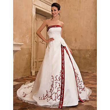 A-line Strapless Sleeveless Organza Satin Chapel Train Wedding Dress – I want in the Alfred Angelo Pomegranate color