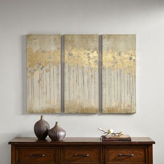 Madison Park Sandy Forest Taupe Gel Coat Canvas with Gold Foil Embellishment 3-piece Set   Overstock.com Shopping - The Best Deals on Gallery Wrapped Canvas