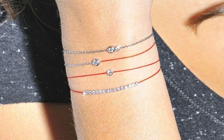 Bracelet femme or blanc diamant Pure Fil