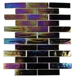 Splashback Tile Iridescent Raven 12 in. x 12 in. x 8 mm Glass Mosaic Floor and Wall Tile (1 sq. ft.)-IRIDESCENT RAVEN BRICK at The Home Depo...