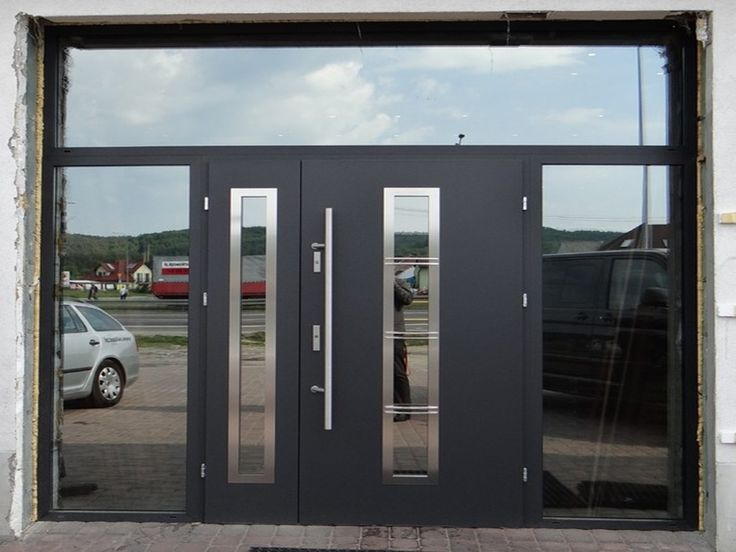 stainless steel double entry door with clear glass sidelites and transom the price includes complete set including door hardware for more info visit