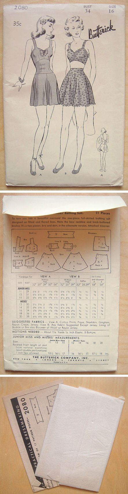 Potential bathing suit pattern - size 16 (would need to adjust to 12/13)