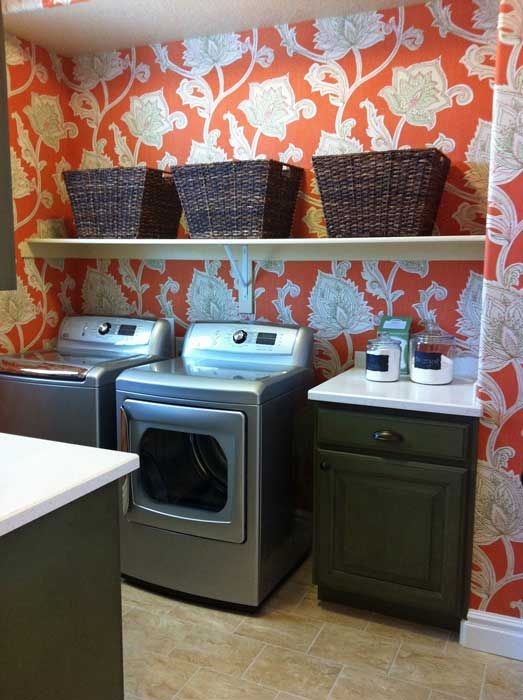 Elegant Laundry/mud Rooms   Thibaut Cypress Orissa Wallpaper Orange, Laundry Room  Cabinets, Green Laundry Room Cabinets, Hunter Green Laundry Room C.