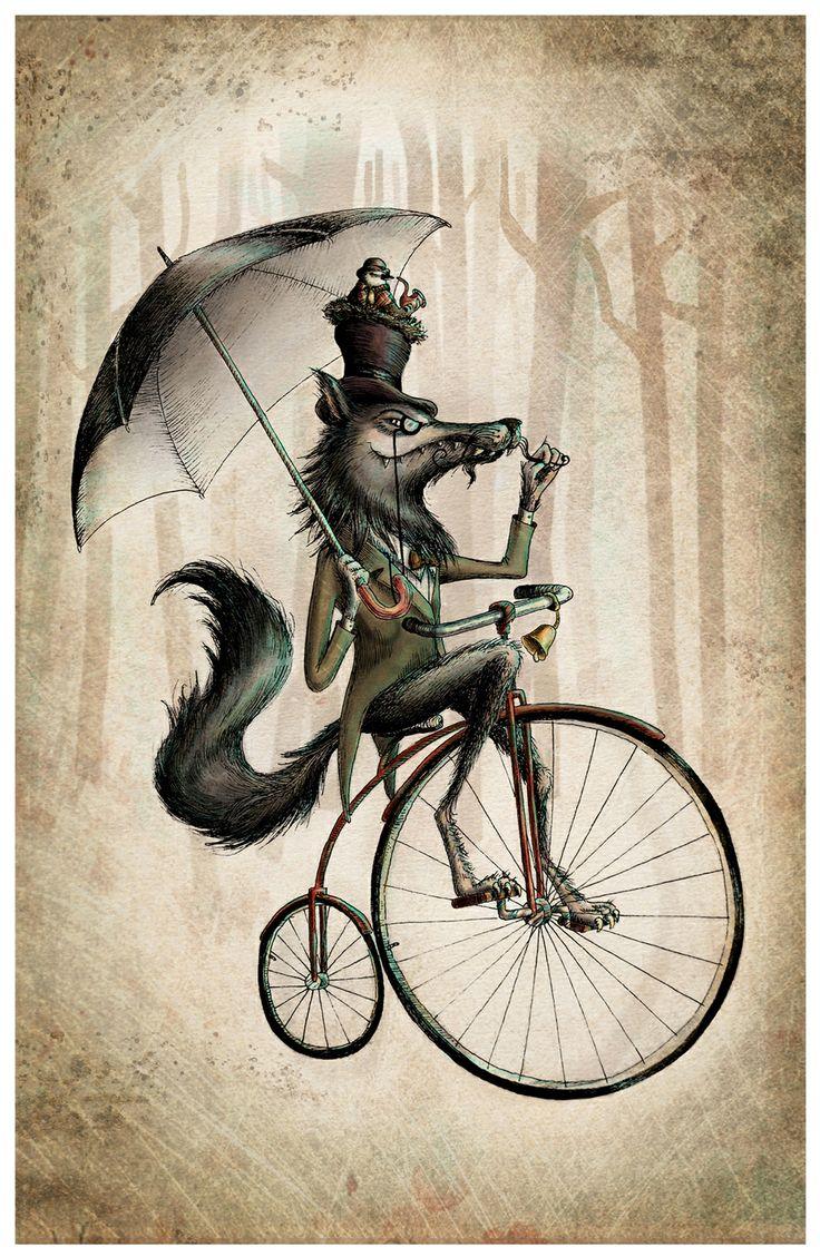 Lobos - Lobo muy majo y su sirirí pasean en bicicleta,  un distiguidisimo lobo con su monóculo pasea con su compañero  El Sirirí en un día muy normal. digital
