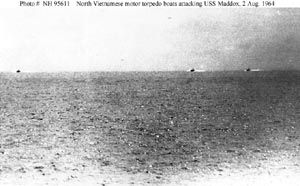 Gulf of Tonkin Incident. John Prados and the NSA files. Photograph taken from USS Maddox (DD-731) in the Gulf of Tonkin, 2 August 1964.