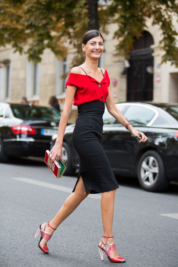 Drop shoulder blouse with high waisted pencil skirt. A classic with contrasting red and black is timeless andd chic. #CateInspiration #SimpleElegance #timeless