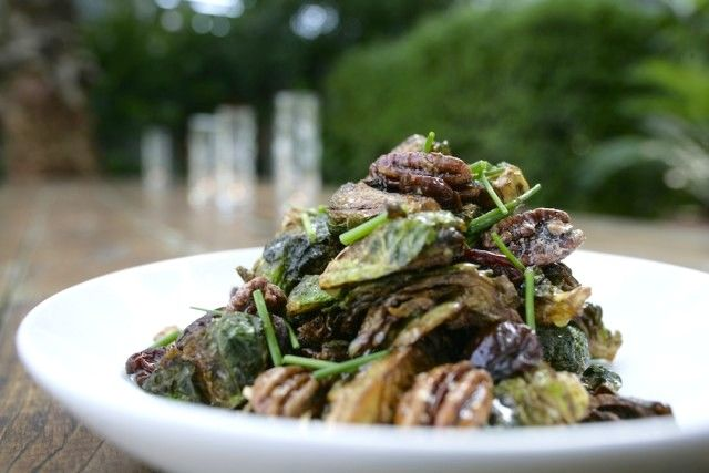 Brussels Sprouts with rum soaked cherries, candied pecans and a Dijon rum glaze