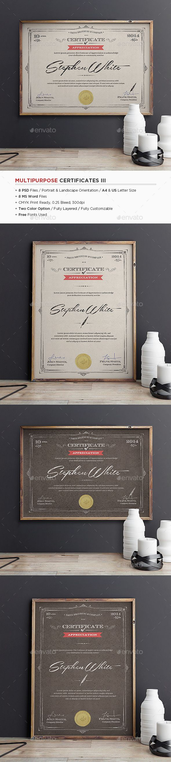 211 best certificate templates ms word images on pinterest multipurpose certificates iii yelopaper Choice Image