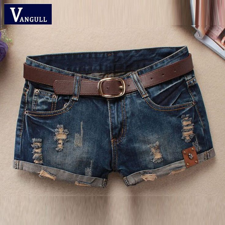 Hot Sale Summer Shorts Women Vintage Club Denim Shorts Sexy Hip Hop Skull Patch Plus Size Ripped Shorts Without Belt