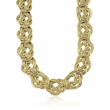 Italian Knot-Link Flex Statement Necklace With 14kt Yellow Gold