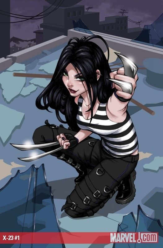 X-23 (Laura Kinney) is a fictional comic book superheroine appearing in books published by Marvel Comics, in particular those featuring the X-Men. X-23 is a female clone of Wolverine. Cloned from a damaged copy of Wolverine's genome, X-23 was created to be the perfect killing machine. For years, she proved herself a notable assassin, though a series of tragedies eventually led her to Wolverine and the X-Men, with whom she now seeks to turn her life around.