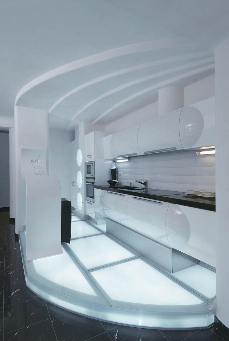 Elegant Apartment, White Apartment Interior Design By Natalya Farnosova,  Futuristic House Part 48