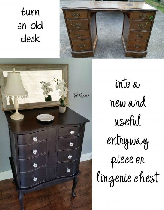 My Repurposed Life How to make a new chest for the bedroom or the entryway out of an old desk and a $1 coffee table. Step by step directions.