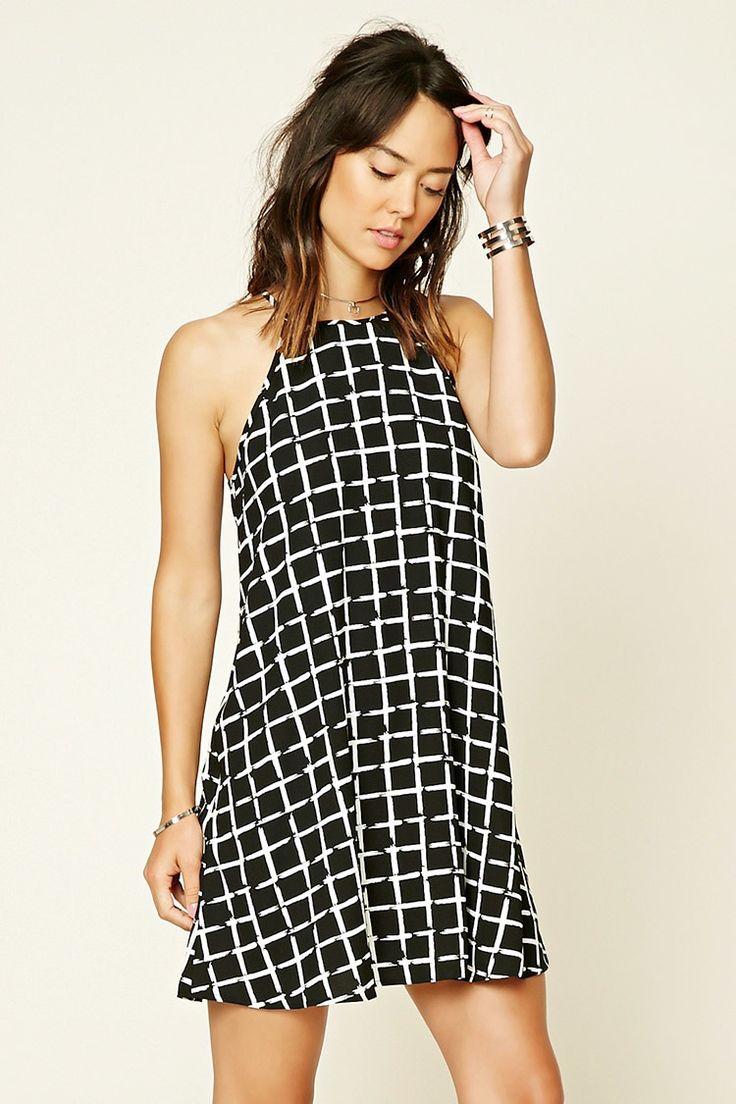 Contemporary Grid Print Dress